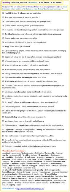 Spellingsoefening : tussen-s, tussen-n in samengestelde woorden / Exercice d'orthographe : 's' de liaison, 'n' de liaison dans les mots composés + OPLOSSINGEN / SOLUTIONS : http://docnederlands.skynetblogs.be/archive/2015/12/14/exercice-3-le-s-et-le-n-de-liaison-dans-les-mots-composes-de-8541963.html