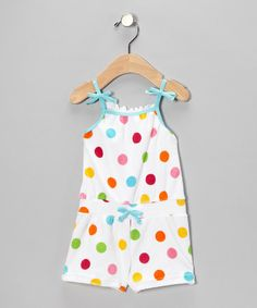 White & Teal Dot Ribbon Knit Romper - Infant & Toddler by Absorba on #zulily today!