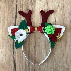 Reindeer headband Christmas White Red Gold