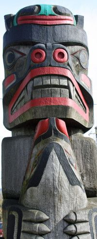 Most totem poles are highly symbolic. This is a heraldic pole. The frog on top represents wisdom, the bear below power and courage, and the ...