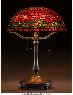 Tiffany Studios Leaded Glass and Bronze Poinsettia Table Lamp On Mushroom Base. Circa 1905. Stamped TIFFANY STUDIOS NEW YORK, 394 S197; 1557-8 Ht. 22-1/2 x Di. 16 in.