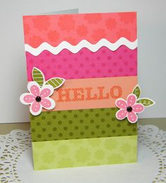 Hello Blooms Handmade Card by justdandystudio on Etsy, $4.00