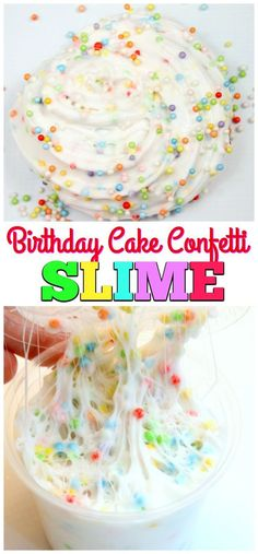 Birthday Cake Confetti Slime-Easy Fluffy Slime Recipe that is super stretchy and fluffy. Learn how to make Make Soft Serve Swirls with Fluffy Slime via @mellisaswigart