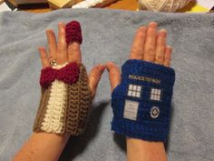 LOL!  The fez on the index finger is cute.  - Dr WHO -fingerless gloves TARDIS and 11th DOCTOR (Matt Smith)