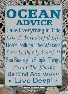 quotes about beach | New Beach Decor Sign Beach House Ocean Advice by CarovaBeachCrafts