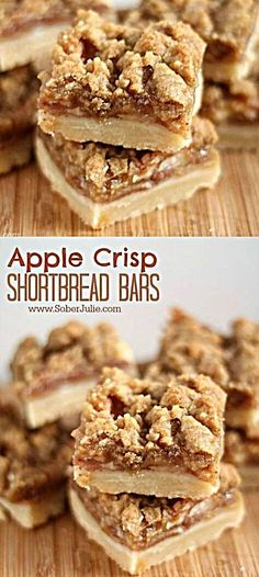 The BEST Apple Crisp Shortbread Bars Recipe – Sober Julie Apple crisp shortbread bars dessert recipe. With this time of year comes fun times visiting apple orchards and mounds of apples all over my kitchen. One of my fav recipes… Continue Reading → Heathly Dessert Recipes, Fodmap Dessert Recipe, Apple Dessert Recipes, Apple Crisp Recipes, Bar Recipes, Apple Baking Recipes, Apple Crisp Bars Recipe, Healthy Apple Desserts, Crack Crackers