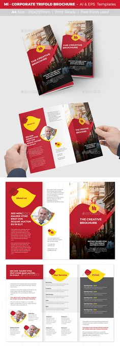 MI   Corporate Trifold Brochure Template Vector EPS, AI Illustrator.  Download Here: Https