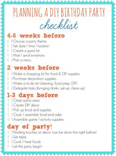 Detailed Birthday Party Planner : First Birthday Party Planner Checklist. First birthday party planner checklist. Birthday Party Checklist, Birthday Party Planner, Party Planning Checklist, 90th Birthday Parties, Diy Birthday, Birthday Ideas, Event Planning, Birthday Themes For Adults, Lila Party