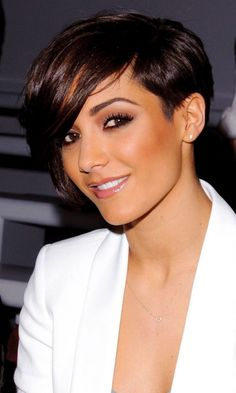 Frankie Sandford wearing her hair in a short asymmetrical cut with one side clipped high around her ear and the other side looking like a bob. Description from hairstyles-q.blogspot.com. I searched for this on bing.com/images