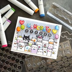 Just posted the video for this card on my YouTubehellip Card Making Inspiration, Making Ideas, Tarjetas Diy, Mama Elephant Stamps, Boyfriend Crafts, Cat Cards, Animal Cards, Handmade Birthday Cards, Funny Cards