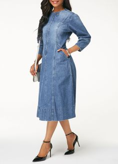 42 Newest Denim Dress Ideas For Winter Modest Outfits, Sexy Outfits, Fall Outfits, Modest Clothing, Simple Dresses, Elegant Dresses, Pretty Dresses, Off One Shoulder Tops, Women's Fashion Dresses