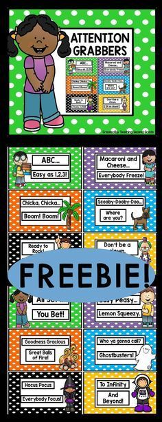 FREE Attention Grabbers - Use this freebie with your Kindergarten, 1st, 2nd, 3rd, or 4th grade students. These quick and easy chants are a fun way for students to quickly get back on task. You're going to love using these as part of your behavior or classroom management strategy. Click through to pick them up for FREE right now! {preK, preschool, K, first, second, third, fourth graders, primary classroom}