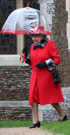 dailymail: British Royals attend Christmas service at St. Mary Magdalene Church, Sandringham, December 25, 2015-Queen Elizabeth, in red dress and matching coat trimmed in fur, carried a matching umbrella as she left the service