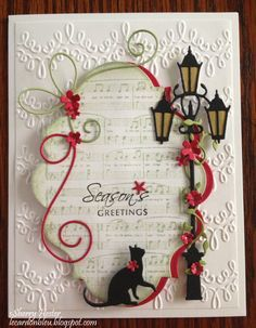 A lamp post, a kitten, some music and pretty red flowers all come together in this festive Christmas card. I love how the Ivy Tendril perfectly winds around the post, and the tiny Floral Delight flowers add a colorful touch. Poppyseed dies Thanks for stopping by, and hope you enjoy! [822] DIES- Ivy Tendrils [872] DIES- Curious Cat [893] DIES- Village Lamp Post Corner Bow InLinkz.com