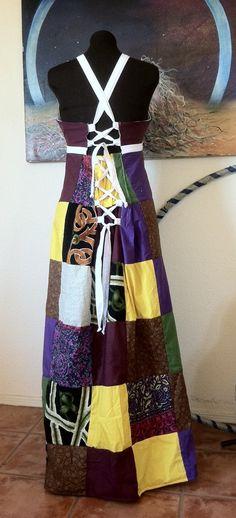 Hippie Patchwork Dress Boho Adjustable Size by dividedskygoods, $70.00