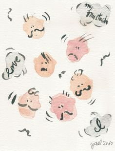 I love my mustache art  Print of original ink and by TheJoyofColor, $21.00