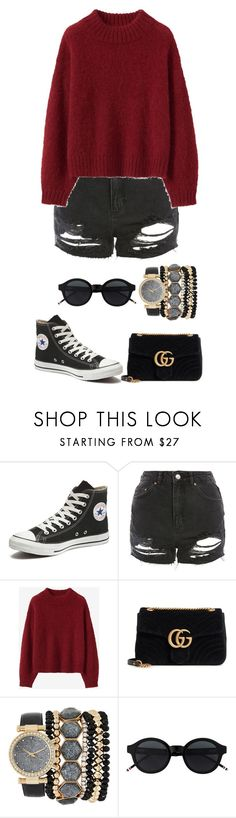 """""""Untitled #816"""" by ayalikeschicken ❤ liked on Polyvore featuring Converse, Topshop, Gucci and Jessica Carlyle"""