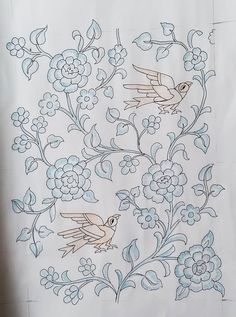 Indian Embroidery Designs, Embroidery On Kurtis, Kurti Embroidery Design, Embroidery Art, Embroidery Stitches, Art Patterns, Pattern Art, Pattern Design, Phad Painting