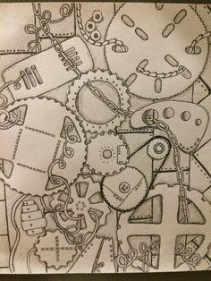 Mechanical zentangle; steampunk zentangle; original doodle by Laura Dotson.