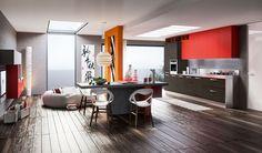 Diseño de cocina moderna color rojo y gris