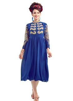 Innovative Blue Party Wear Georgette Kurti. http://www.gnoutlet.com/collections/kurtis/products/02-innovative-blue-party-wear-georgette-kurti?variant=14133994694