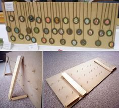 Necklace display ~ Skipapple: Sawing, sanding and a broken camera Craft Stall Display, Craft Booth Displays, Display Ideas, Booth Ideas, Art And Craft Shows, Craft Show Ideas, Jewellery Storage, Jewellery Display, Jewelry Rack