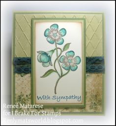 I Brake For Stamps: Large Violet Stem, Every Day Phrases.  With Sympathy card.