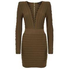 Balmain Lace-Up Bodycon Dress (22 385 SEK) ❤ liked on Polyvore featuring dresses, balmain dress, criss-cross dress, going out dresses, brown cocktail dress and bodycon cocktail dress