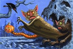 Halloween 4, Halloween Goodies, Halloween Pictures, Holidays Halloween, Cute Animal Illustration, Halloween Illustration, Vintage Halloween Cards, Hallows Eve, Horror