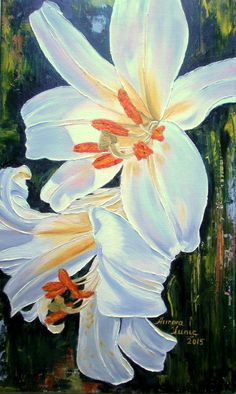 Imperial Lily, pictura ulei/panza,50cm/25cm Textile Art, Oil On Canvas, Lily, Textiles, Painting, Painting Art, Lilies, Paint, Draw