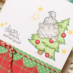 Christmas kitty card by Tessa Wise for Newton's Nook Designs - Newton's Curious Christmas Cat stamp set