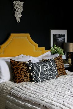Bedroom Reveal: How To Transition A Room From Summer To Winter. Yellow  HeadboardVelvet ...
