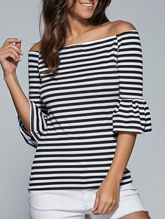 bardot striped shirt