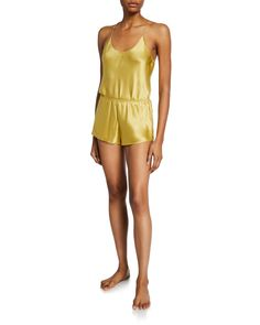 Olivia Von Halle Bella Honey Silk Camisole Short Pajama Set In Gold Olivia Von Halle, Pajama Shorts, World Of Fashion, Pajama Set, Lounge Wear, Camisole, Rompers, Fashion Outfits, Silk