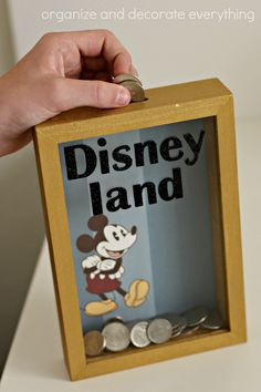 Disney Shadow Box Savings Bank adding money Make this Disney Shadow Box Savings Bank and start saving for your next Disney vacation. Your kids will love watching their money grow. Crafts For Teens To Make, Create And Craft, Easy Fall Crafts, Diy And Crafts, Stick Crafts, Spring Crafts, Fun Crafts, Paper Crafts, Teen Christmas Gifts