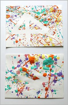 Easy Art Projects for Kids: Splatter Paint and Tape Resist - Buggy and Buddy