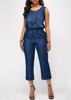 Cheap blue Jumpsuits & Rompers online for sale Jumpsuit Outfit, Denim Jumpsuit, African Fashion Dresses, Fashion Outfits, Womens Fashion, Fashion Clothes, Jumpsuits For Women, Blue Jumpsuits, Drawstring Waist
