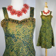 Vintage Tiki Pin-Up Sun Dress Hawaiian Ruffle Bust by madvintage