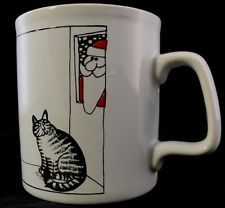 Vintage 80s Kliban Fat Cat Made In England Christmas Santa Mug Ironstone