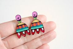 Mexican flower earrings day of the dead studs by lacravatteduchien, €12.00