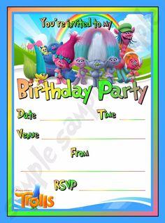 20 Trolls Birthday Party Invite / Invitations   eBay