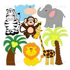 free baby animal clip art paper parties baby safari clip art rh pinterest com safari clip art free printables jungle safari clipart free