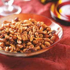 Cinnamon-Glazed Peanuts Recipe -This is the perfect topper for any ice cream treat at the end of a meal. The sweetness of the peanuts will enhance the flavor the ice cream.—Taste of Home Test Kitchen, Milwaukee, Wisconsin Peanut Recipes, Dog Food Recipes, Healthy Recipes, Fodmap Recipes, Healthy Food, Yummy Snacks, Yummy Food, Appetizer Recipes, Sweets