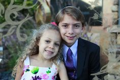 Brother and sister photo with decorative border