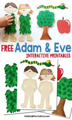 Beautiful free Bible story printables for teaching kids about Adam and Eve! trickytoddlers.com