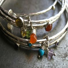 6 Piece Gemstone and .925 Sterling Silver Bangle Bracelet Set (Amethyst, Peridot, Pearl, Citrine, Carnelian, Turquoise)