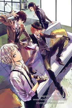 Atsushi, Dazai, Chuuya and Akutagawa Anime Boys, Cute Anime Boy, Bungou Stray Dogs Wallpaper, Dog Wallpaper, Stray Dogs Anime, Bongou Stray Dogs, Dark Fantasy, Manga Art, Anime Art