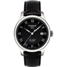 Tissot T0064071605300 Le Locle stainless steel automatic and leather... ($450) ❤ liked on Polyvore featuring men's fashion, men's jewelry, men's watches, tissot mens watches, mens leather strap watches, mens black face watches, mens stainless steel watches and mens sport watches