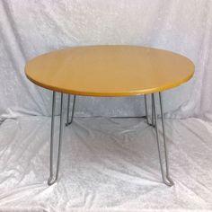 Vtg Yellow 24 Inch Round Table Deco Kitchy Folding Coffee Kids Sturdy   #Modern