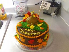 Thanksgiving Cake Chocolate cake, chocolate frosting, and fondant accents. Holiday Snacks, Holiday Cakes, Christmas Recipes, Chocolate Frosting, Chocolate Cake, Thanksgiving Cupcakes, Thanksgiving Recipes, Turkey Cake, Religious Cakes